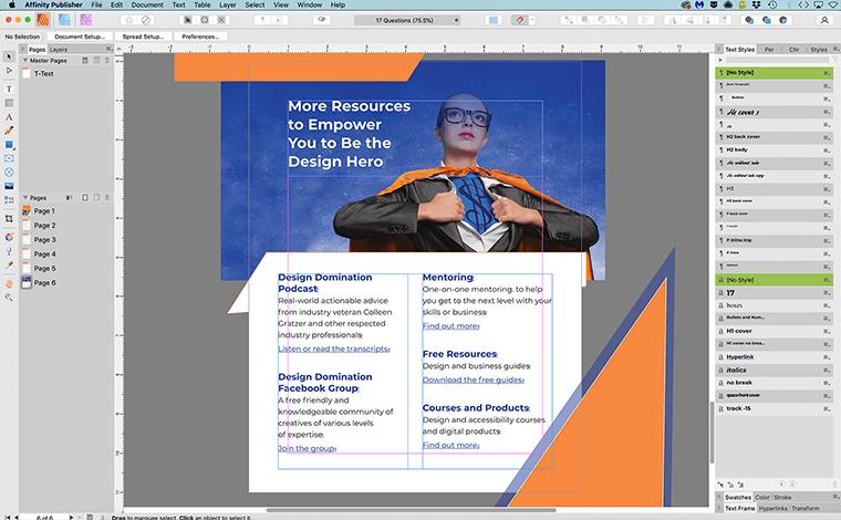 Affinity Publisher interface